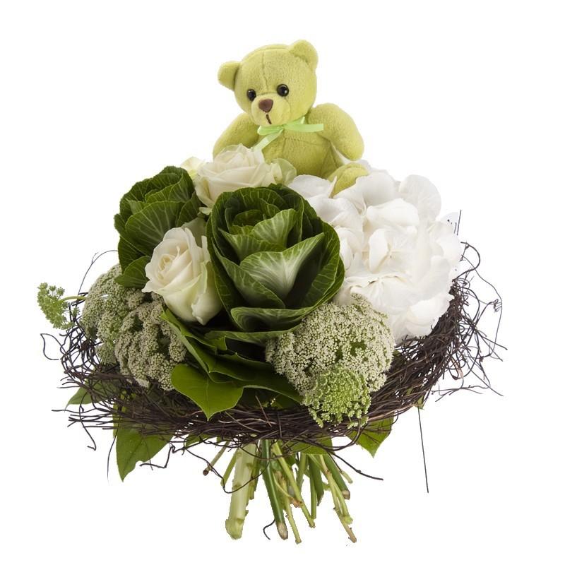Bouquet naissance - Peluche et choux
