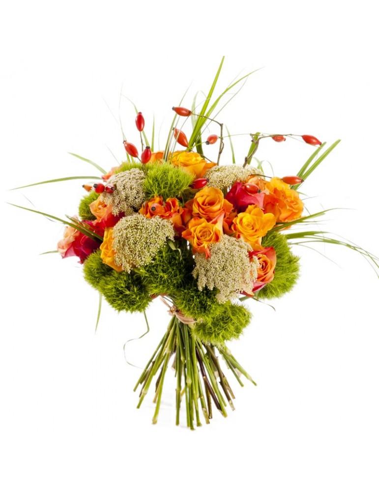 Bouquet long automne. Roses orangées et dille.