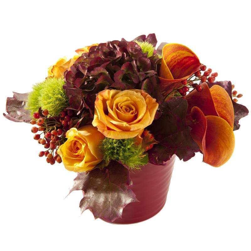Arrangement floral piqué couleurs d'automne