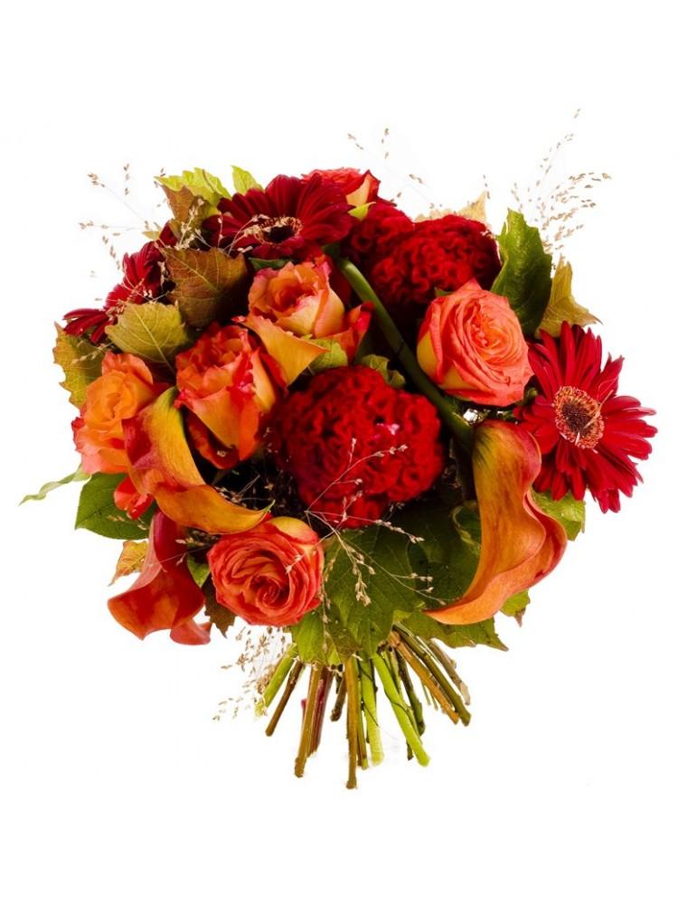 Bouquet rond couleur automne fleurs rares