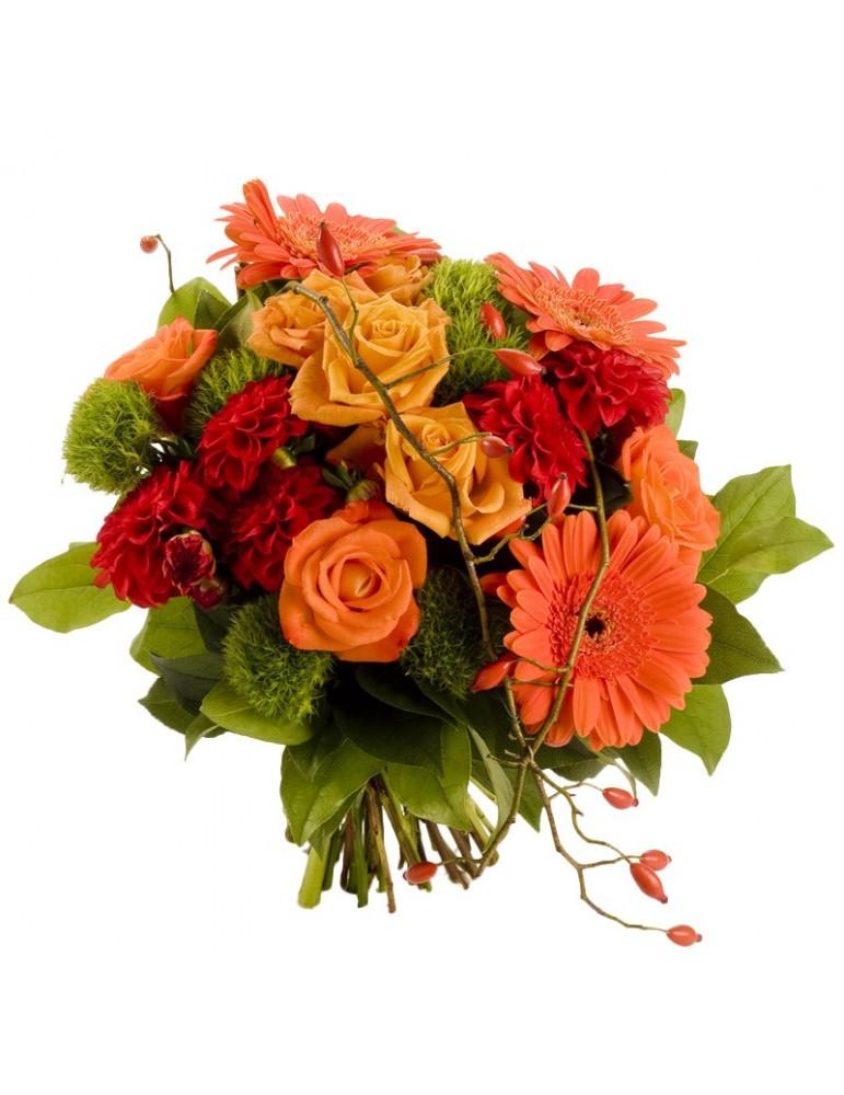 Bouquet rond, fleurs orangées