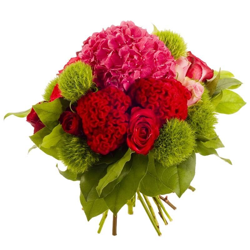 bouquet rond rouges et verts