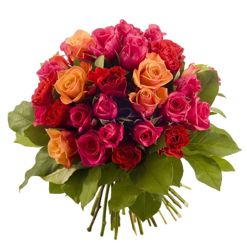 Bouquet boule de roses couleurs chaudes panachées