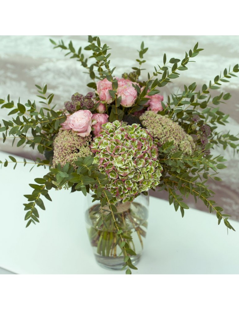 bouquet long hortensia eucalyptus