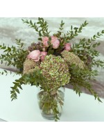 bouquet long hortensia eucalyptus