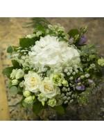 bouquet rond, roses et hortensias