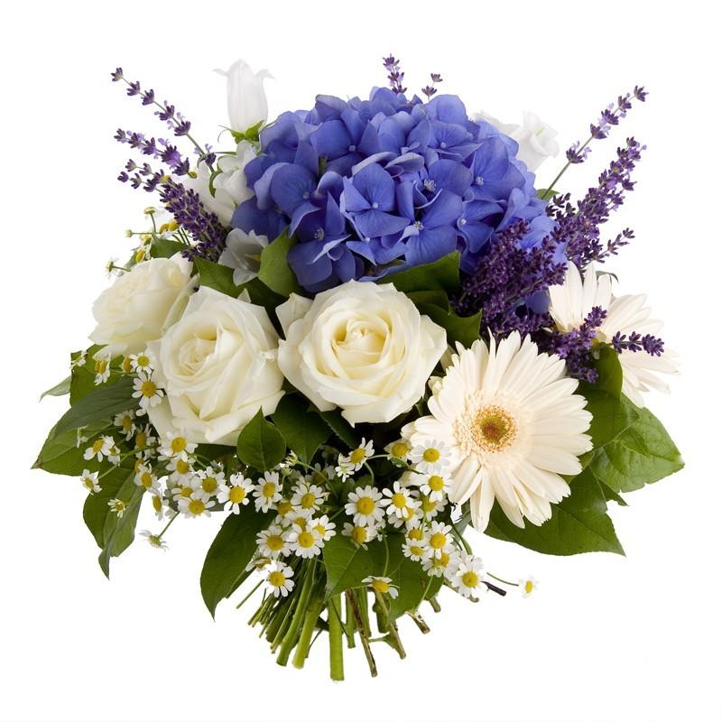 bouquet rond bleu et blanc