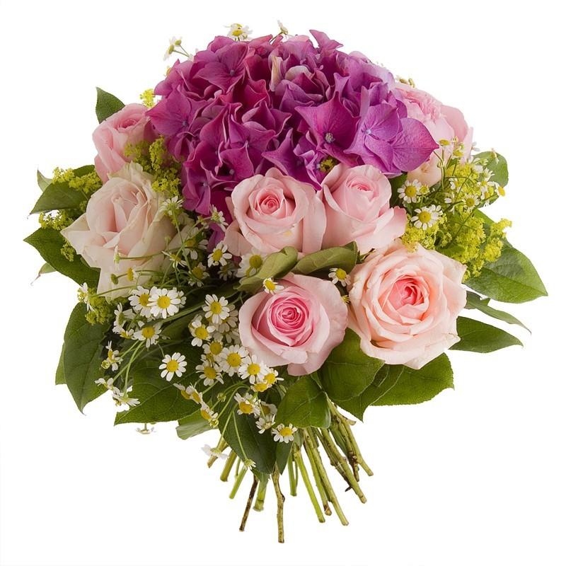 Bouquet roses et hortensia tons rosés