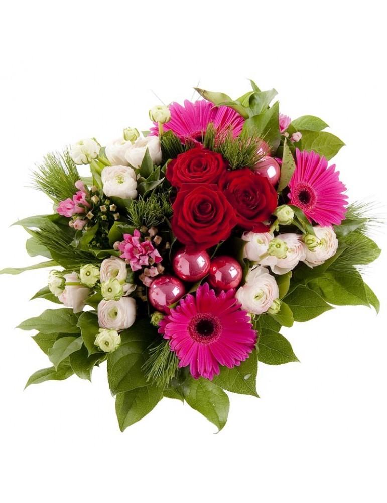 Bouquet de fleurs pour les Fêtes - couleurs pimpantes