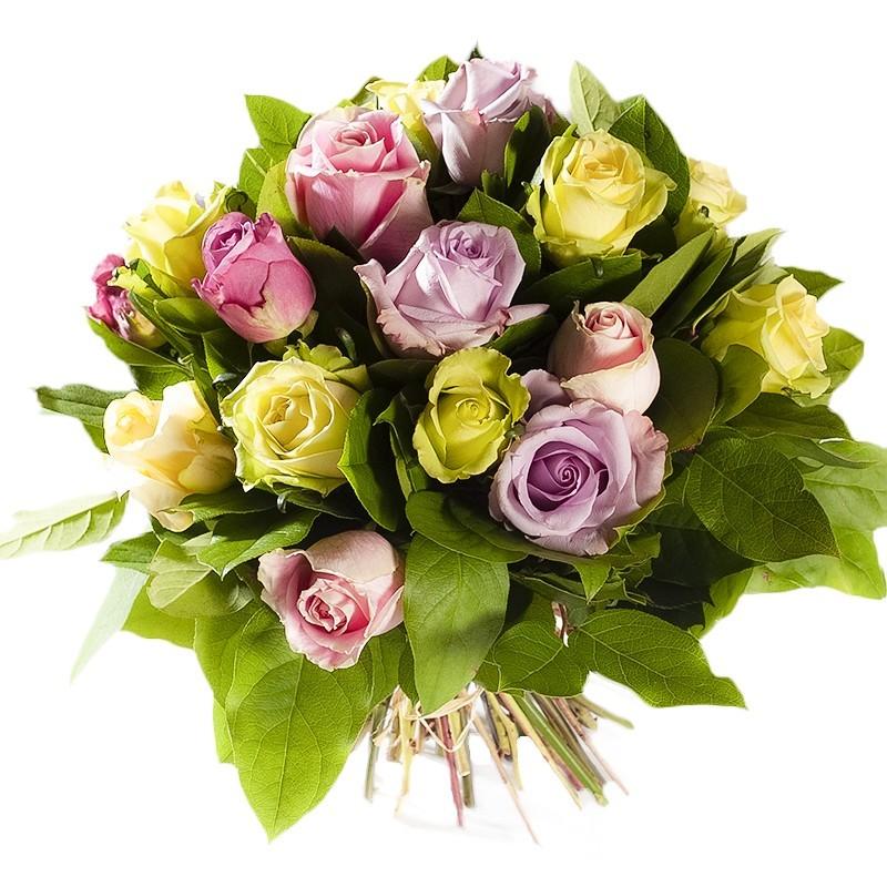 bouquet de roses gros bouton couleurs panachées