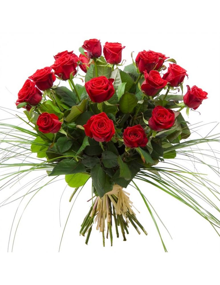 Bouquet roses rouges longues tiges