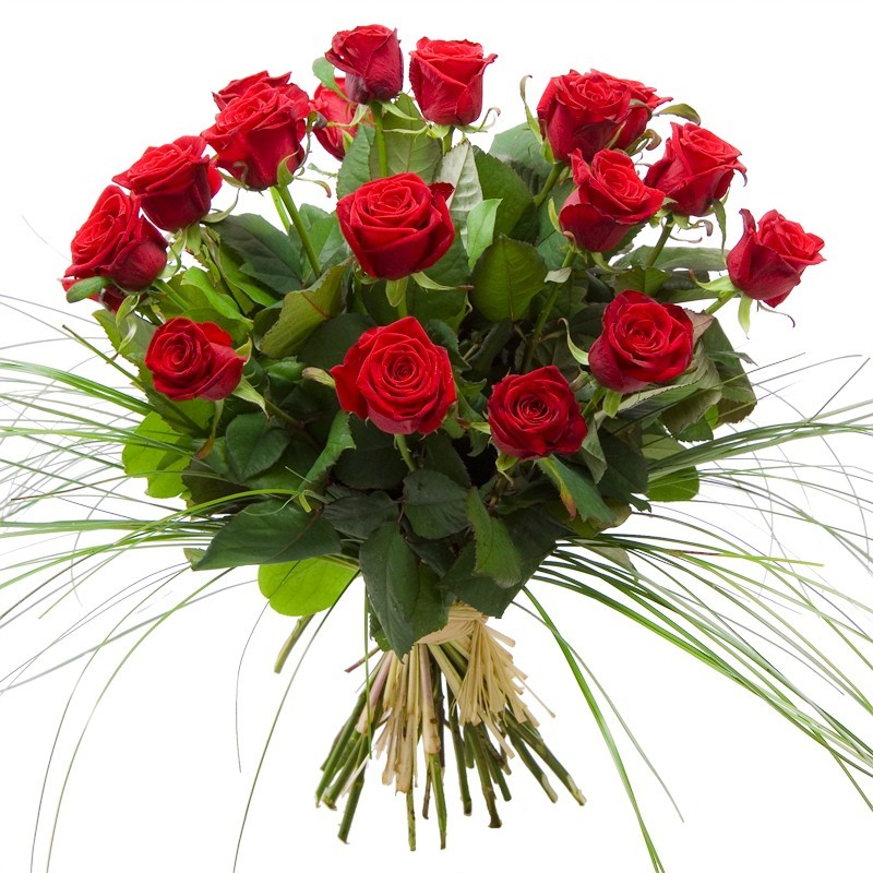 Bouquet roses rouges longues tiges
