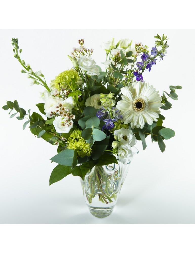 Bouquet fleurs blanches et bleues