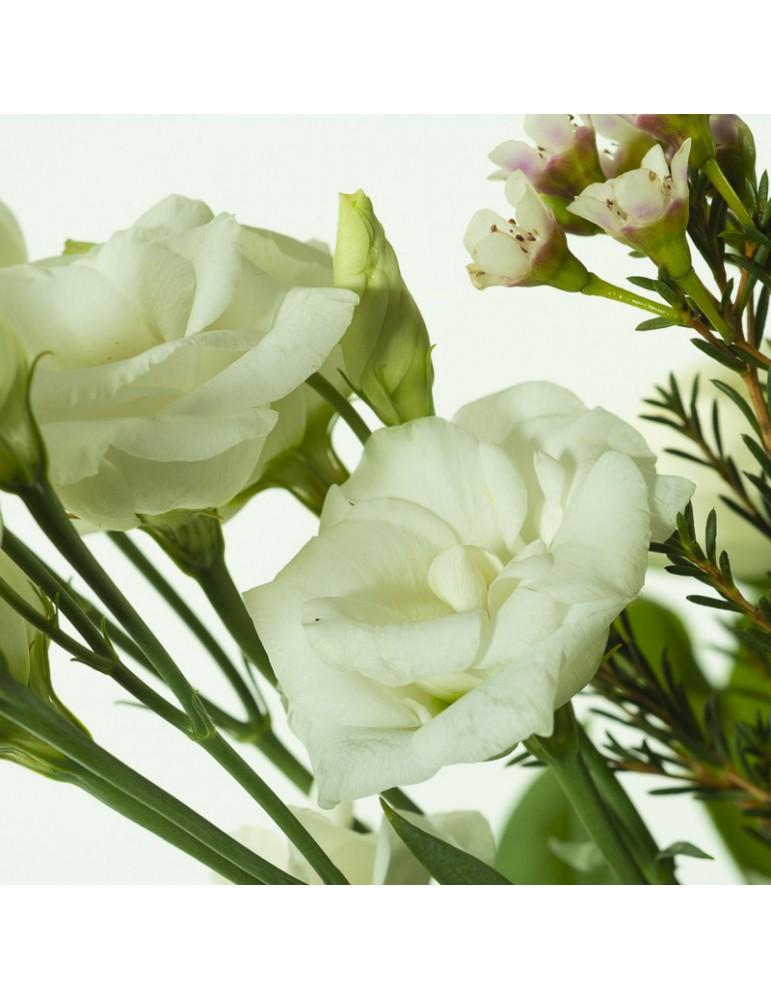 Détail fleur lysianthus blanc