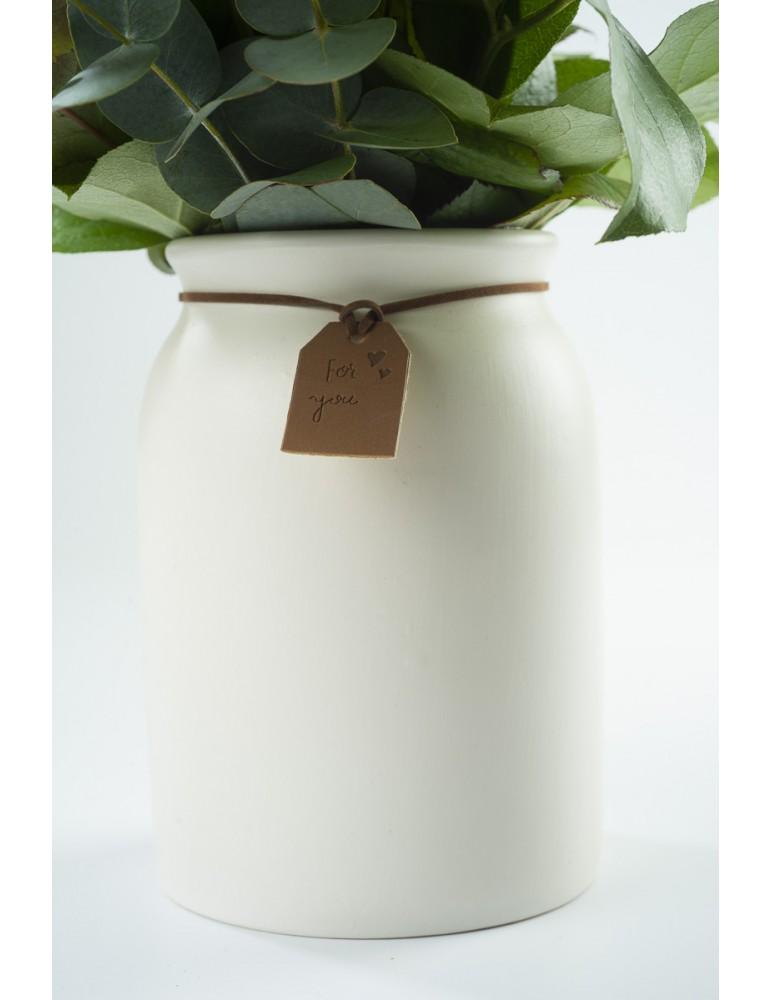 Vase-pot en céramique blanche