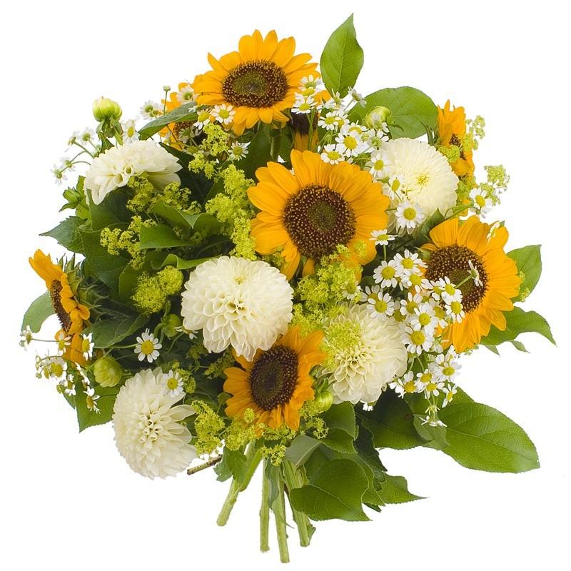 Bouquet de fleurs tournesols et dahlias