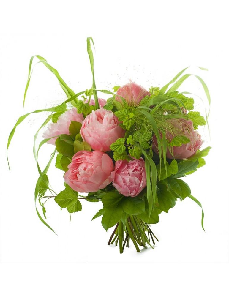 Bouquet de fleurs, pivoines et feuillages